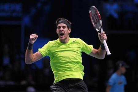 Argentina's Juan Martin Del Potro celebrates winning his men's singles tennis match against Switzerland's Roger Federer at the ATP World Tour Finals at the O2 Arena in London November 10, 2012. REUTERS/Stefan Wermuth