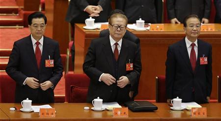 China's President Hu Jintao, former President Jiang Zemin and Premier Wen Jiabao stand at the beginning of the opening ceremony of the 18th National Congress of the Communist Party of China at the Great Hall of the People in Beijing November 8, 2012. REUTERS/Jason Lee