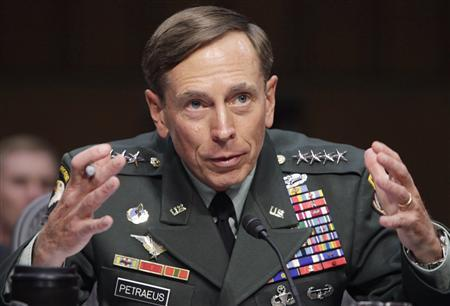 U.S. General David Petraeus gestures during the Senate Intelligence Committee hearing on his nomination to be director of the Central Intelligence Agency on Capitol Hill in Washington in this June 23, 2011, file photo. REUTERS/Yuri Gripas/Files