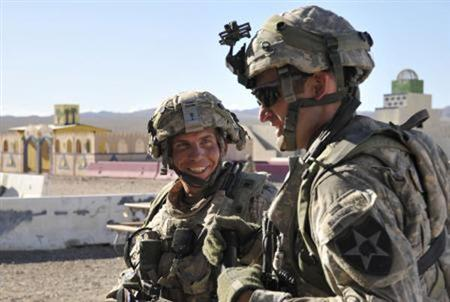 Staff Sgt. Robert Bales, (L) 1st platoon sergeant, Blackhorse Company, 2nd Battalion, 3rd Infantry Regiment, 3rd Stryker Brigade Combat Team, 2nd Infantry Division, is seen during an exercise at the National Training Center in Fort Irwin, California, in this August 23, 2011 DVIDS handout photo. REUTERS/Department of Defense/Spc. Ryan Hallock/Handout