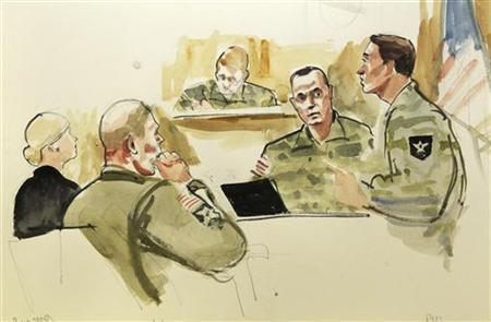 This photograph of a courtroom sketch by artist Lois Silver shows U.S. Army soldier Staff Sergeant Robert Bales, (2nd L) and his defense attorney Emma Scanlan (L) listening to testimony by second witness Corporal David Godwin (2nd R) and lead prosecuting attorney Lieutenant Colonel Jay Morse during the first days of Bales' military Article-32 Investigation, a U.S. Courts Martial pre-trial proceeding, at Joint Base Lewis-McChord in Washington November 5, 2012. A U.S. Army soldier accused of killing 16 Afghan villagers in a drunken rampage in March faces the military version of a preliminary hearing starting on Monday to determine if there is sufficient evidence for a court martial. Bales is accused of killing Afghan villagers in a drunken rampage on March 11, 2012 and faces 16 counts of premeditated murder. Also pictured in this courtroom sketch is presiding investigation officer Col. Lee Demecky (top). REUTERS/Anthony Bolante