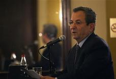 Israel's Defence Minister Ehud Barak addresses members of the foreign media during a news conference in Jerusalem April 30, 2012. REUTERS/Ronen Zvulun
