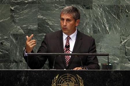 Austrian Vice-Chancellor and Foreign Minister Michael Spindelegger addresses the 67th session of the United Nations General Assembly at U.N. headquarters in New York, September 28, 2012. REUTERS/Keith Bedford