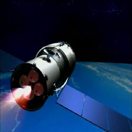 A 3D animation of China's Tiangong-1 space module is shown in this still image taken from video released September 28, 2011. REUTERS/Jiuquan Satellite Launch Centre/Handout/Files