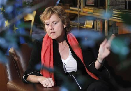 EU Climate Action Commissioner Connie Hedegaard speaks during an interview with Reuters journalists in Moscow November 2, 2011. REUTERS/Anton Golubev