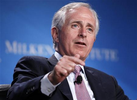 U.S. Senator Bob Corker (R-TN) takes part in a panel discussion titled ''Fixer-Upper: Repairing the U.S. Housing Market'' at the Milken Institute Global Conference in Beverly Hills, California May 1, 2012. REUTERS/Danny Moloshok