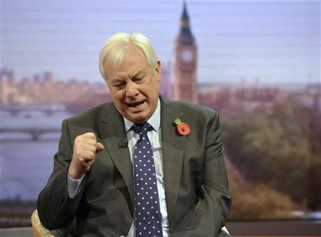 Chris Patten, chairman of the BBC Trust, speaks on the Andrew Marr political talk show at BBC television studios in London November 11, 2012. REUTERS/Jeff Overs/BBC/handout