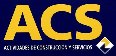 The logo of Spanish construction, energy and services group ACS is seen during the company's annual shareholders meeting in Madrid May 26, 2008. REUTERS/Sergio Perez (SPAIN)