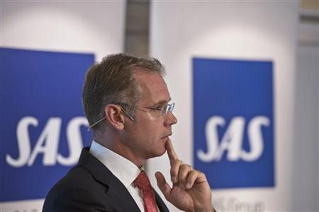 Rickard Gustafson, CEO and President of SAS Group and Scandinavian Airlines, presents the results for the second quarter of 2012 at a news conference at Arlanda Airport, Stockholm, August 8, 2012. REUTERS/Leif R Jansson/Scanpix