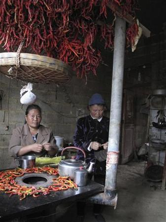 Yang Hechun (L), a Chinese villager in Yangchang village in impoverished Guizhou province, sits in her brick home preparing lunch, October 30, 2012. REUTERS/James Pomfret (CHINA - Tags: POLITICS BUSINESS)