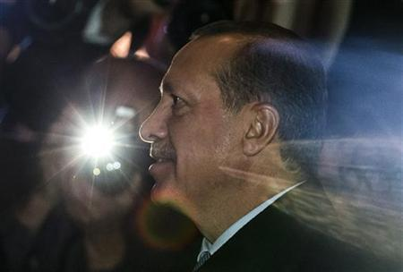 Turkey's Prime Minister Tayyip Erdogan arrives for the opening ceremony of the Turkish embassy in Berlin, October 30, 2012. REUTERS/Thomas Peter