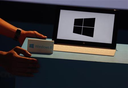 A Microsoft Surface tablet is seen during the launch of Microsoft Windows 8 operating system in Hong Kong October 26, 2012. REUTERS/Bobby Yip