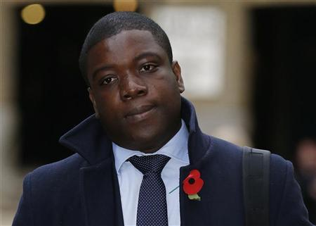 Former UBS trader Kweku Adoboli arrives at Southwark Crown Court in London November 12, 2012. REUTERS/Olivia Harris