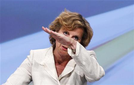 European Climate Action Commissioner Connie Hedegaard of Denmark gestures as she addresses a news conference at the EU Commission headquarters in Brussels July 11, 2012. REUTERS/Francois Lenoir