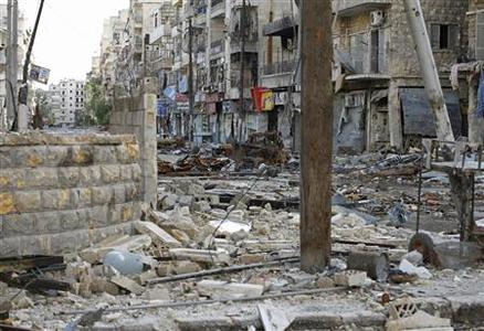 A view shows damages in the Aleppo district of Salaheddine November 12, 2012. REUTERS/Zain Karam
