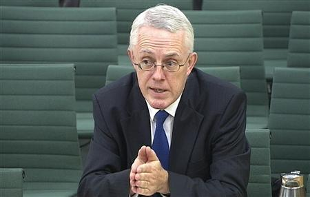 A video grab image shows John Vickers addressing the Parliamentary Commission on Banking Standards, in London November 12, 2012. Britain could force banks to fully separate their retail operations from riskier areas if lenders fail to implement a ''ring-fence'' that sufficiently safeguards taxpayers or improves behavior, the architect of the plan said on Monday. John Vickers headed up the Independent Commission on Banking (ICB), which recommended UK banks shielded or ''ring-fenced'' their retail operations from riskier investment banking activities but stopped short of advocating a total separation. REUTERS/UK Parliament