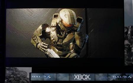 A scene from the new version of the Halo video game ''Halo 4'' is previewed at the Microsoft XBox news briefing during the E3 game expo in Los Angeles, California June 4, 2012. REUTERS/Fred Prouser