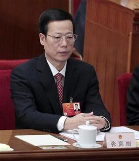 China's Tianjin Municipality Communist Party Secretary Zhang Gaoli attends the closing ceremony of the National People's Congress (NPC), China's parliament, at the Great Hall of the People in Beijing, March 14, 2012. REUTERS/Jason Lee
