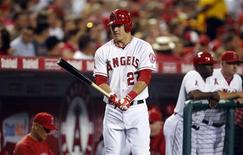 Los Angeles Angels' Mike Trout gets ready to play against the Texas Rangers in their MLB baseball game in Anaheim, California September 20, 2012. REUTERS/Alex Gallardo