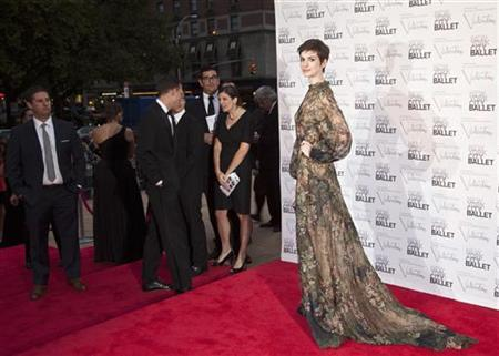 Actress Anne Hathaway arrives for the 2012 New York City Ballet Fall Gala at the Lincoln Center in New York September 20, 2012. REUTERS/Andrew Kelly