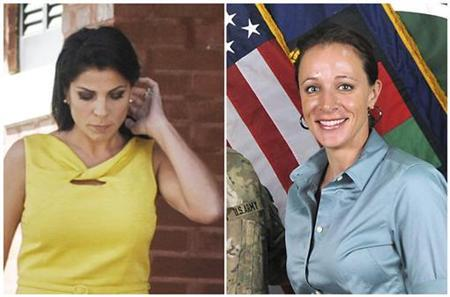 A combination photo shows Jill Kelley (L), a friend of former U.S. General David Petraeus' family, in Tampa, Florida on November 12, 2012 and Petraeus' biographer Paula Broadwell, in an ISAF handout image, originally posted July 13, 2011. REUTERS/Brian Blanco/ISAF/Handout