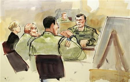 This photograph of a courtroom sketch by artist Lois Silver shows U.S. Army soldier Staff Sgt. Robert Bales, (2nd L) and his defense attorney Emma Scanlan (L) listening to testimony by witness Master Sgt. Clifford Uhrich during the first days of Bales' military Article-32 Investigation, a U.S. Courts Martial pre-trial proceeding, at Joint Base Lewis-McChord in Washington November 5, 2012. REUTERS/Anthony Bolante