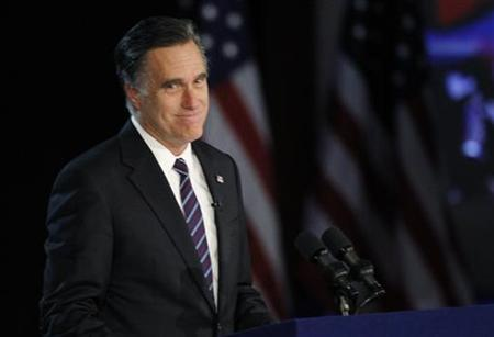 U.S. Republican presidential nominee Mitt Romney gives his concession speech after losing the election to U.S. President Barack Obama, at Romney's election night rally in Boston, Massachusetts November 7, 2012. REUTERS/Shannon Stapleton