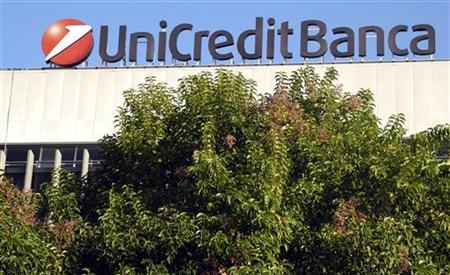 A Unicredit bank logo is seen in Rome November 15, 2011. REUTERS/Stefano Rellandini (ITALY - Tags: BUSINESS LOGO)