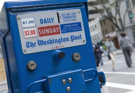 A general view of a Washington Post Company newspaper box near the company's headquarters in Washington, March 30, 2012. REUTERS/Jonathan Ernst
