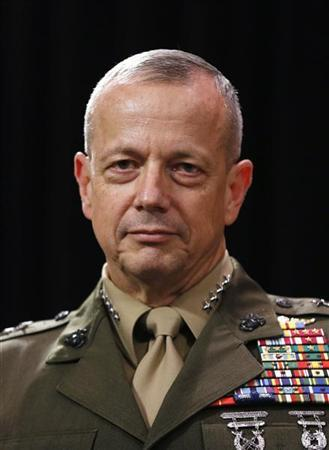 U.S. General John Allen, commander of the North Atlantic Treaty Organization (NATO) forces in Afghanistan, attends a news conference during a NATO defence ministers meeting at the Alliance headquarters in Brussels October 10, 2012. REUTERS/Francois Lenoir
