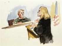 This courtroom artist's sketch shows Staff Sgt. Robert Bales' civilian attorney Emma Scanlan (R) giving her closing argument while presiding investigation officer Col. Lee Demecky (L) listens during the final day of the Article-32 proceedings for Staff Sgt. Robert Bales (not pictured) at Joint Base Lewis-McChord on November 13, 2012. Bales is accused of killing Afghan villagers in a drunken rampage on March 11, 2012 and faces 16 counts of premeditated murder. REUTERS/Lois Silver