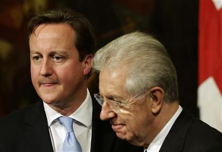 Italian Prime Minister Mario Monti (R) and British Prime Minister David Cameron leave at the end of a meeting at Chigi Palace in Rome November 13, 2012. REUTERS/Tony Gentile