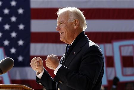U.S. Vice President Joe Biden speaks during a campaign rally in Sterling, Virginia November 5, 2012. REUTERS/Kevin Lamarque
