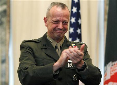 U.S. General John Allen, NATO's commander of foreign troops in Afghanistan, attends a ceremony in Kabul in this April 8, 2012 file photo. REUTERS/Omar Sobhani/Files