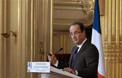 France's President Francois Hollande addresses a news conference at the Elysee Palace in Paris, November 13, 2012. Hollande, facing plunging poll ratings, defends his first six months in a high-profile news conference. REUTERS/Philippe Wojazer (FRANCE - Tags: POLITICS)