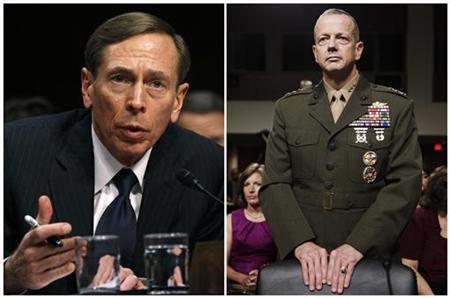 A combination photo shows CIA Director David Petraeus speaking on Capitol Hill in Washington on January 31, 2012 and U.S. Marine Corps Lt. Gen. John Allen arriving to testify on Capitol Hill in Washington June 28, 2011. The top U.S. commander in Afghanistan, General John Allen, is under investigation for alleged inappropriate communication with a woman at the center of the scandal involving former CIA Director David Petraeus, a senior U.S. defense official said on November 13, 2012. REUTERS/Kevin Lamarque/Yuri Gripas/Files (UNITED STATES - Tags: POLITICS MILITARY)