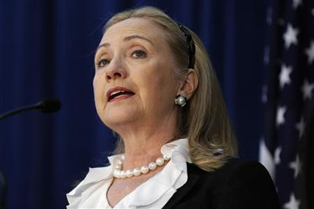 U. S. Secretary of State Hillary Clinton speaks during a news conference at the annual Australia-United States Ministerial (AUSMIN) meetings in Perth November 14, 2012. REUTERS/Matt Rourke/Pool
