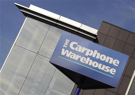 Signage is seen on the outside of Carphone Warehouse offices in west London October 10, 2008. REUTERS/Toby Melville
