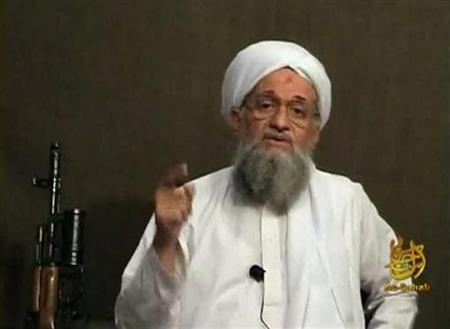 EDITOR'S NOTE: REUTERS IS UNABLE TO INDEPENDENTLY VERIFY CONTENT THE VIDEO FROM WHICH THIS STILL IMAGE WAS TAKEN. Al Qaeda's second-in-command Ayman al-Zawahri speaks from an unknown location, in this still image taken from video uploaded on a social media website June 8, 2011. REUTERS/Social Media Website via Reuters TV/Files