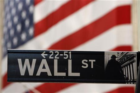 A Wall Street sign is seen outside of the New York Stock Exchange September 19, 2008. REUTERS/Lucas Jackson/Files