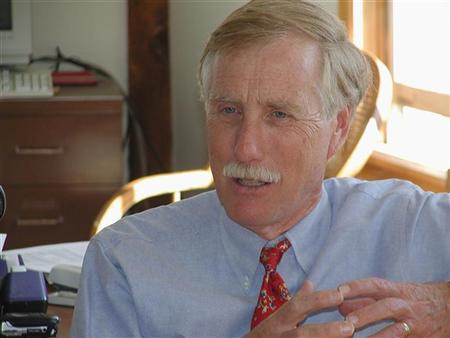 Former Maine Governor Angus King is pictured in this undated photograph released on June 22, 2012. REUTERS/Courtesy of the Office of Angus King/Handout