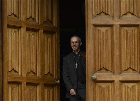 The Bishop of Durham, and the newly appointed Archbishop of Canterbury, Justin Welby, leaves after a news conference at Lambeth Palace in London November 9, 2012. REUTERS/Dylan Martinez