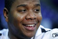 AFC champion Pittsburgh Steelers quarterback Byron Leftwich talks to a reporter in Fort Worth, Texas February 2, 2011 ahead of NFL football's Super Bowl XLV to be played February 6. REUTERS/Brian Snyder