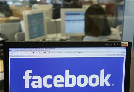 The Facebook logo is displayed on a computer screen in Brussels April 21, 2010. REUTERS/Thierry Roge /Files