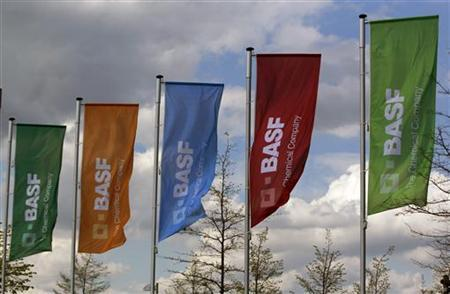 Flags of the German chemical company BASF are pictured in Monheim April 20, 2012. REUTERS/Ina Fassbender (GERMANY - Tags: BUSINESS LOGO)