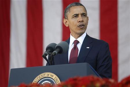 U.S. President Barack Obama delivers Veterans Day remarks at Arlington National Cemetery in Arlington, Virginia, November 11, 2012. REUTERS/Jonathan Ernst