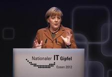 German Chancellor Angela Merkel makes a speech during the seventh national IT-Summit in Essen November 13, 2012. REUTERS/Ina Fassbender