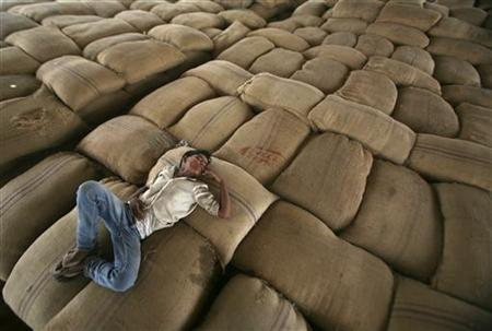 A worker takes a nap on sacks filled with wheat at a wholesale grain market at Dadri town in Uttar Pradesh May 26, 2012. REUTERS/Parivartan Sharma/Files