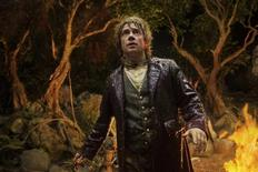 "Actor Martin Freeman is shown in a scene from the film ""The Hobbit: An Unexpected Journey"" in this publicity photo released to Reuters November 14, 2012. If moviegoers are expecting traditional family films in theaters this holiday season, they may be surprised. Hollywood filmmakers are releasing movies that feature epic battles with vampires, goblins, extremists and a few elves. REUTERS/James Fisher /Warner Bros Entertainment/Handout"