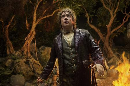 Actor Martin Freeman is shown in a scene from the film ''The Hobbit: An Unexpected Journey'' in this publicity photo released to Reuters November 14, 2012. If moviegoers are expecting traditional family films in theaters this holiday season, they may be surprised. Hollywood filmmakers are releasing movies that feature epic battles with vampires, goblins, extremists and a few elves. REUTERS/James Fisher /Warner Bros Entertainment/Handout